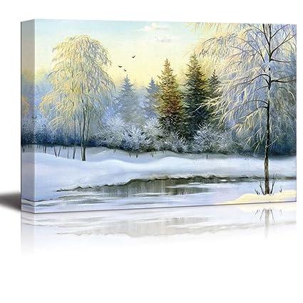 Amazon.com: Canvas Prints Wall Art - Beautiful Winter Landscape ...