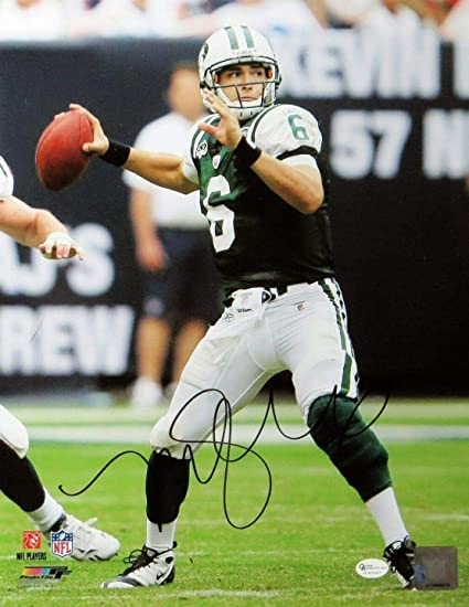 54ede7c10da Autographed Mark Sanchez Photo - 11X14 Throwing Green Jersey OA - Autographed  NFL Photos at Amazon's Sports Collectibles Store