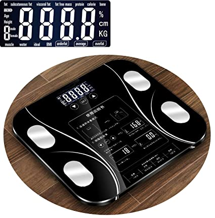 Amazon.com: Body Index Electronic Smart Weighing Scales Bathroom Body Fat Scale Digital Human Weight Mi Scales Floor LCD Display,Black 2: Health & Personal ...