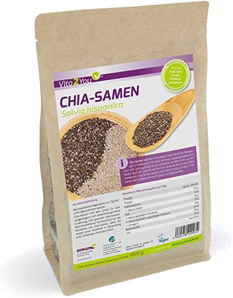 Vita2You Chia semilla - Salvia Hispanica - 1kg Zippbeutel - 1er ...