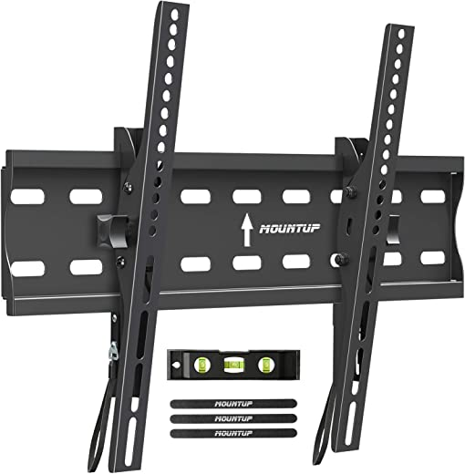 MOUNTUP Tilting TV Wall Mount Bracket for 26-55 Inch Flat Screen TVs/Curved TVs, Low Profile TV Wall Mount TV Bracket – Easy to Install On 12″ or…