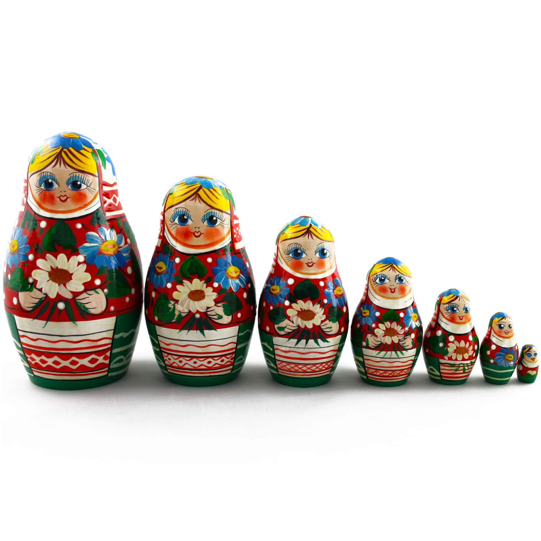 Russian Nesting Dolls - Matryoshka Dolls Belarusian Motives with Flowers Set 7 pcs by MATRYOSHKA&HANDICRAFT