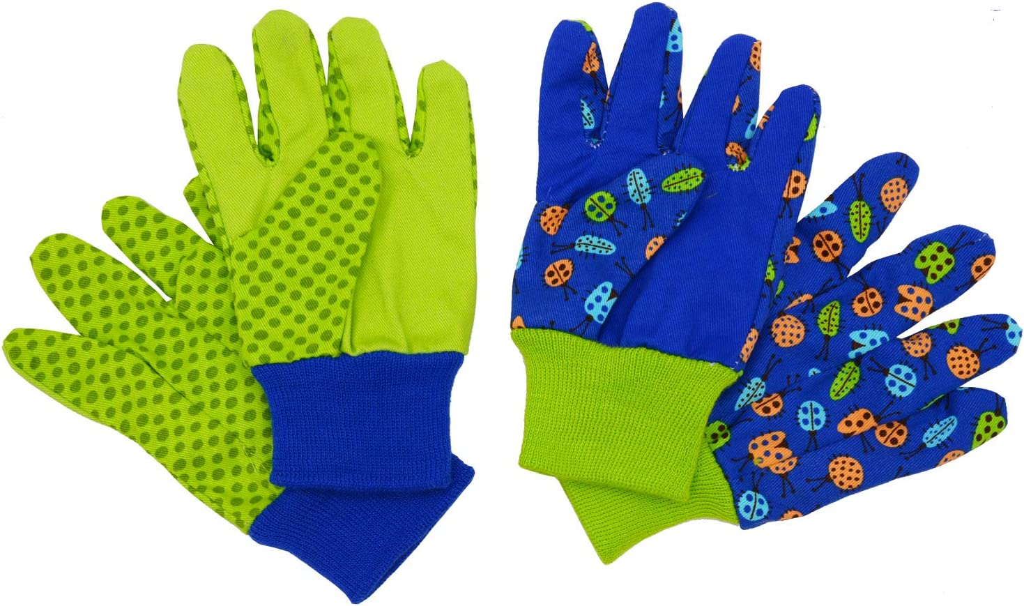 Kids Gardening gloves for age 5-6, age 7-8, 2 Pairs Cotton Garden Working Gloves for girls boys, Dot & Butterfly & Ladybird Print (Medium (age 7-8), Green (ladybird+ dot))
