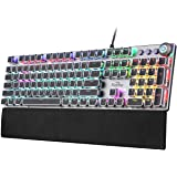 FIODIO Mechanical Gaming Keyboard, LED Rainbow Gaming Backlit, 104 Anti-ghosting Keys, Quick-Response Quiet Black Switches, M