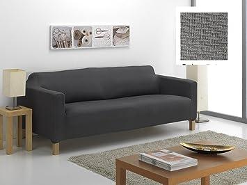 textil-home Funda de Sofá Elástica KARLSTAD, 3 plazas - Desde 180 a 240 cm. Color Gris (Modelo Exclusivo Funda Sofá KARLSTAD IKEA)