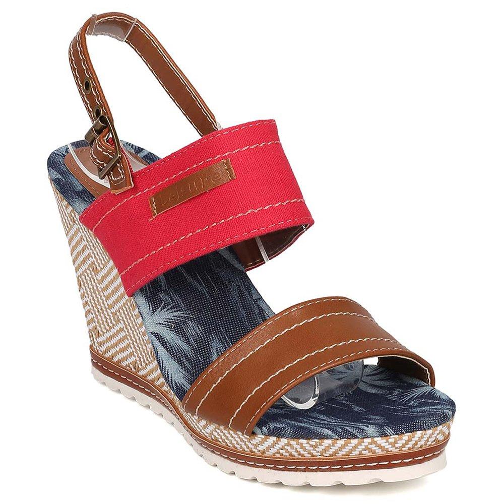 Nature Breeze Women's Denim High Platform 6.5 Summer Wedge Sandals B06XSZ195N 6.5 Platform M US|Red-01 7926a3
