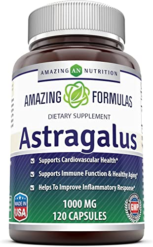 Amazing Formulas Astragalus All Natural Dietary Supplement 1000 mg Capsule Capsules Made from Pure Astragalus Membranaceus Plant Root Extract – Made in The USA – 120 Capsules Per Bottle