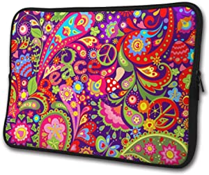 SWEET-YZ Laptop Sleeve Case Peace Symbol Mushrooms Paisley Notebook Computer Cover Bag Compatible 13-15 Inch Laptop