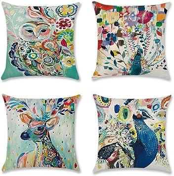 Artscope Set de 4 décoratif en coton doux Lin Housses De Coussin Pour Canapé Voiture 45 x