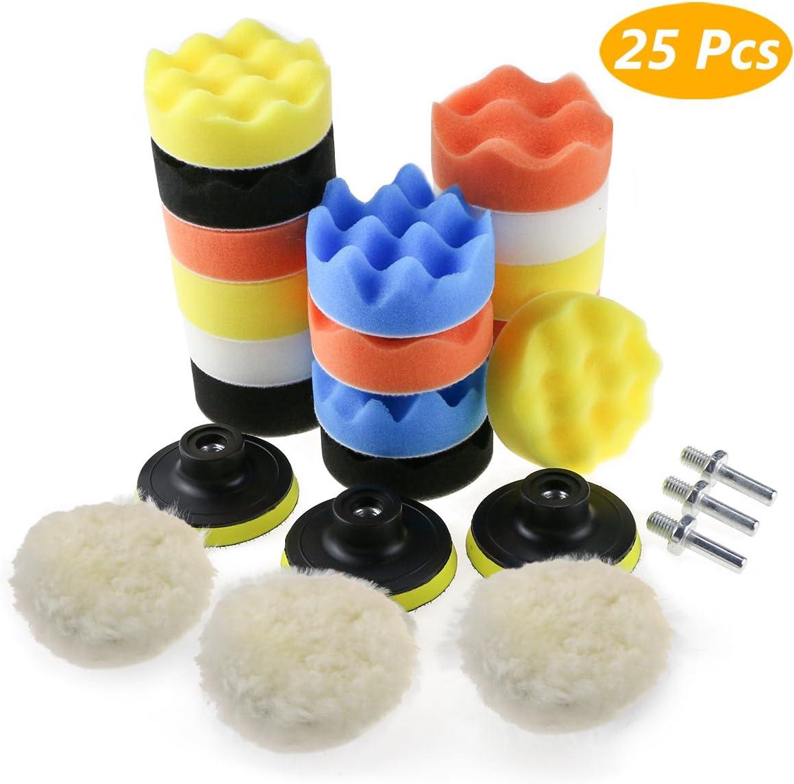 Zaeel Esponja pulido para coche, Kit de esponja pulir coche con adaptador de taladro y almohadillas de cera de lana, juego de almohadillas de pulido de 25 piezas para coche, pulidor y depilación