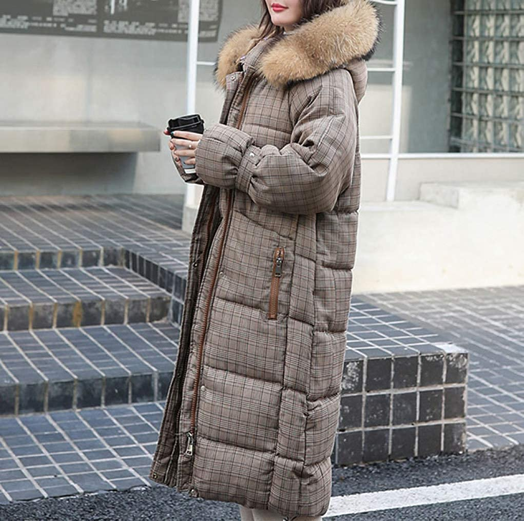 HiiWorld Long Plaid Fur Coat Hooded Winter Down Coat Heavy Jacket Oversize Thick Warm Cotton Padded Wadded Parkas