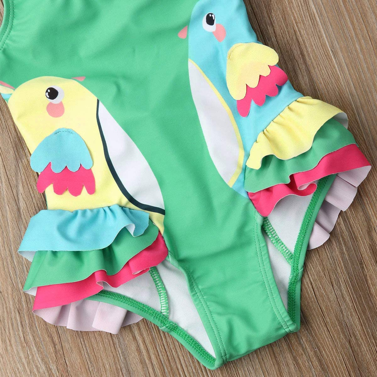 Infant Newborn Baby Girls One-Piece Swimwear 3D Birds Bikini Swimsuit Costume