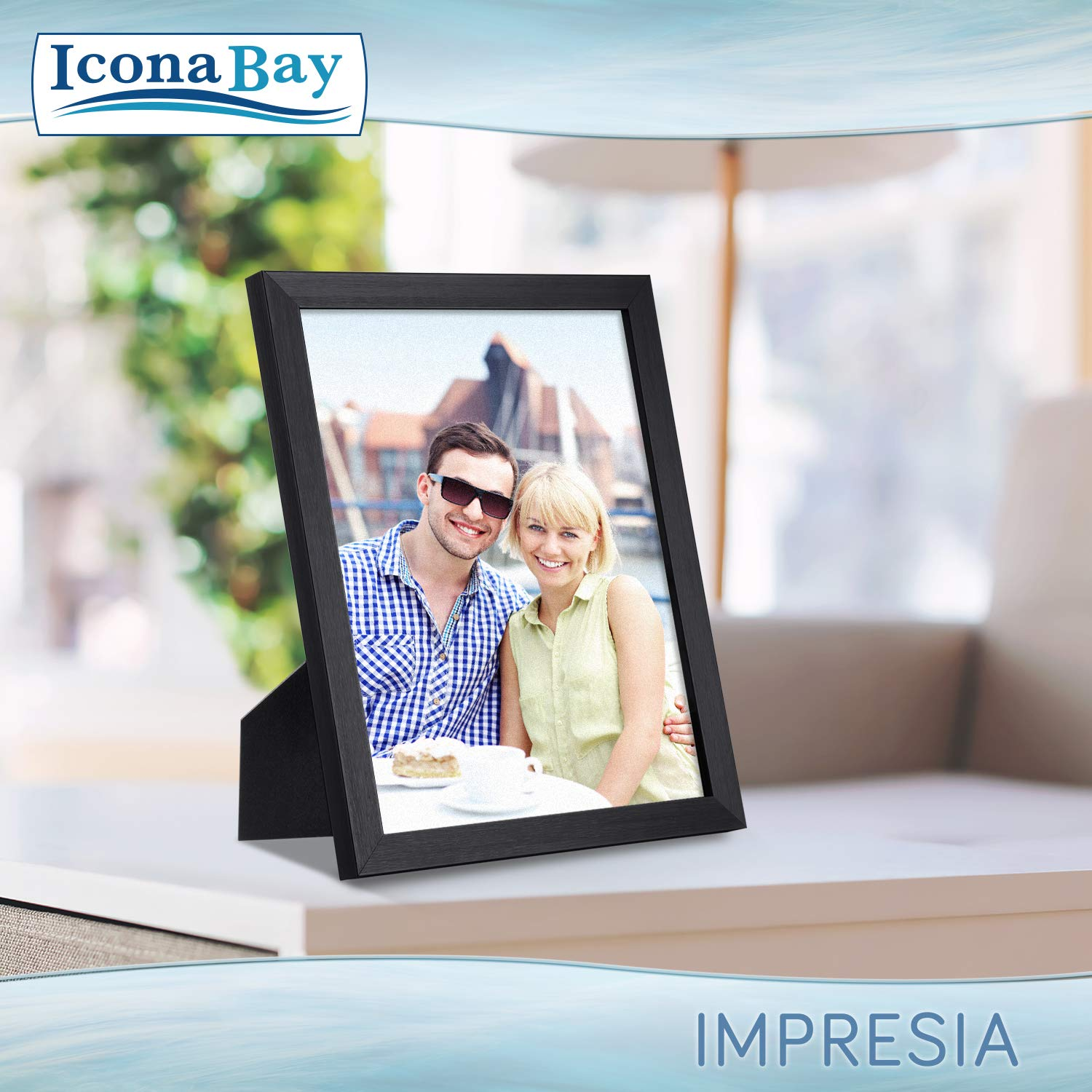 Icona Bay 8x10 Picture Frame Pack (4 Pack, Black) 8 x 10 Frame, Tabletop and Wall Hang Hardware Included with Photo Frames, Impresia Collection by Icona Bay (Image #4)