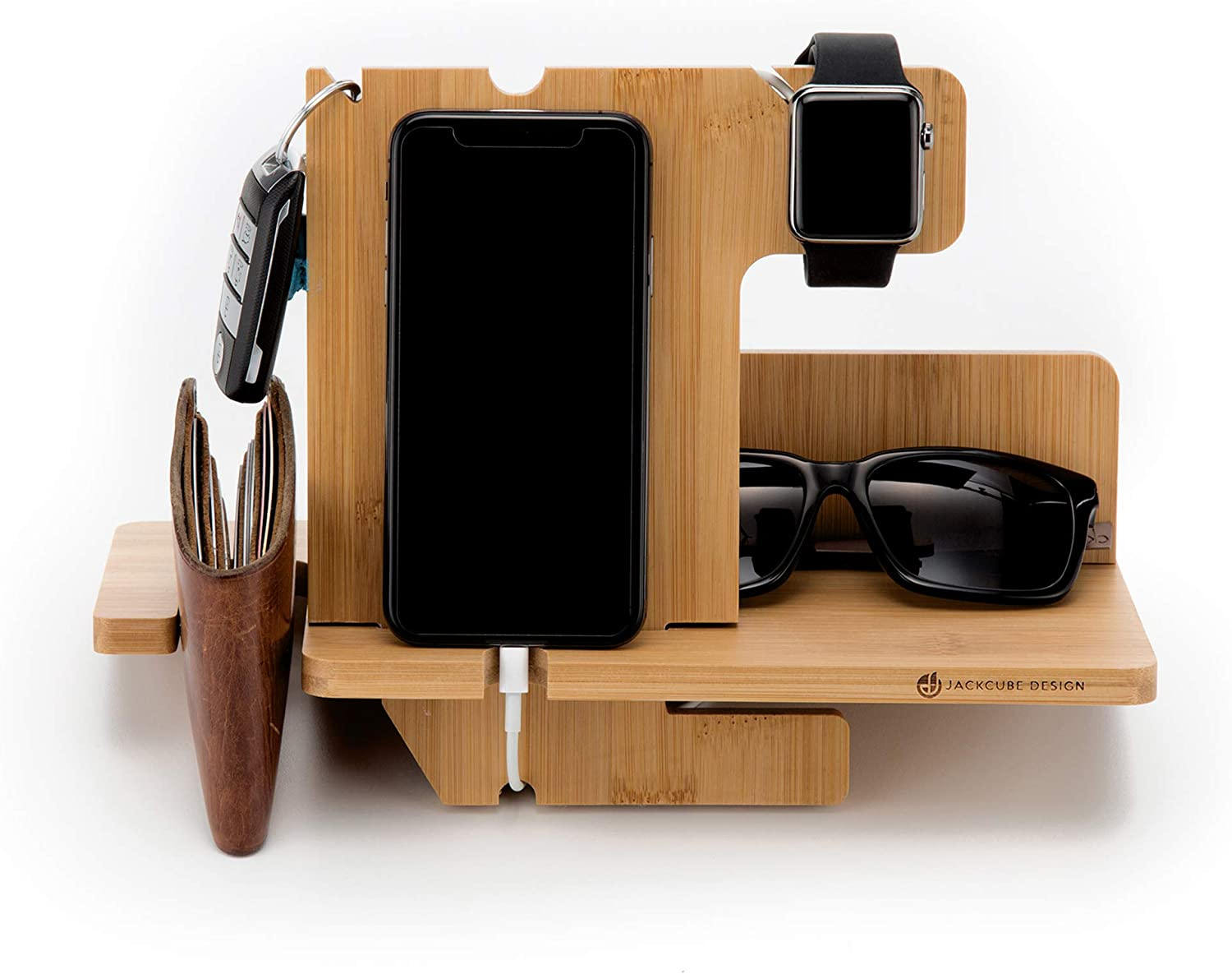 JackCubeDesign Bamboo iphone Apple Watch Charger dock Stand Multi Device Charging Station Organizer Holder for Smartphone Cellphone Mobile Wallet Glasses Key(Large) – MK242A