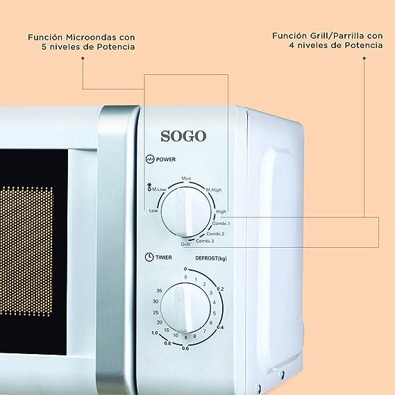 Sogo: SS-845 Microondas con Grill, 20L, 700W, 1000W de Grill, 5 ...