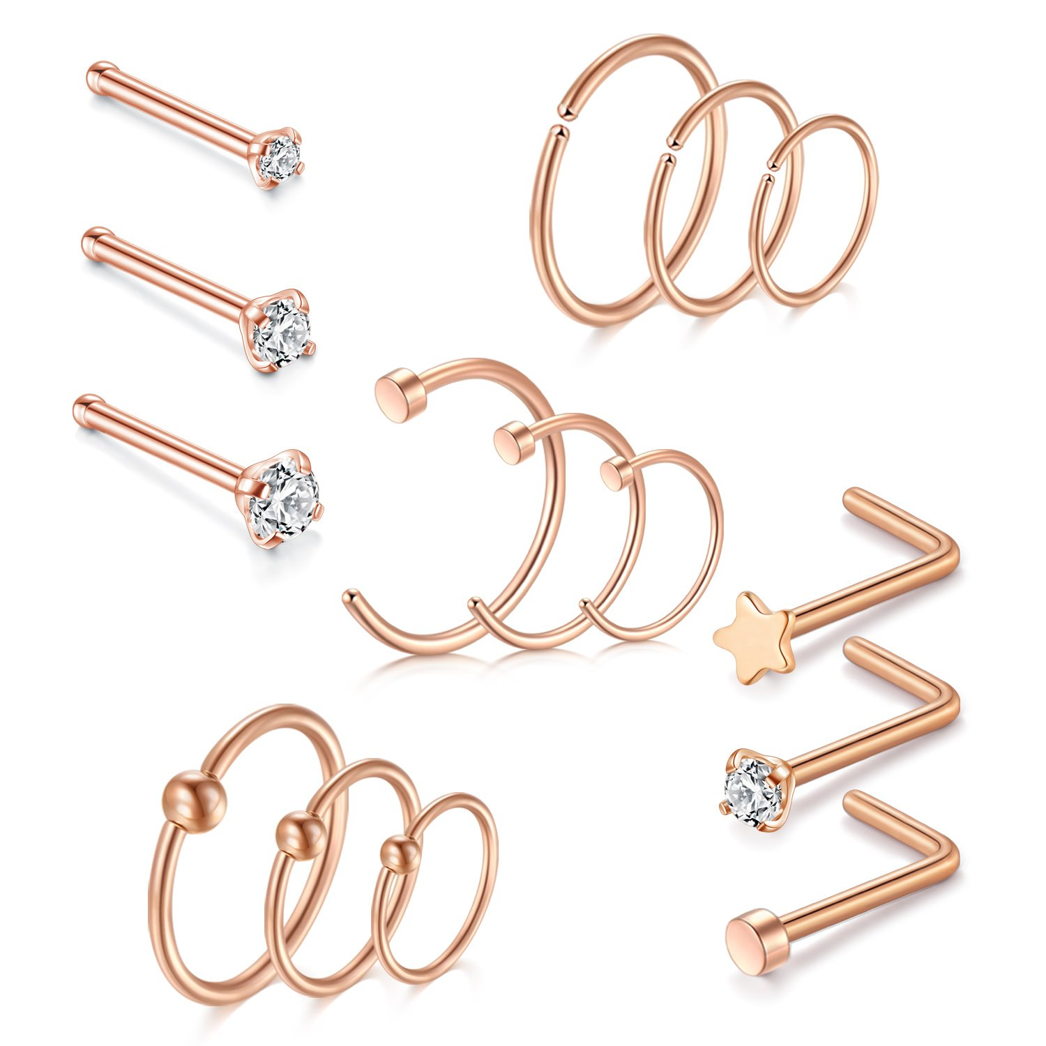 vcmart Nose Rings Hoop-20G 8mm 10mm 12mm Fake Nose Rings 316L Surgical Steel Helix Cartilage Tragus Earring Nose Rings Studs Piercing 1.5mm 2mm 2.5mm Rose Gold