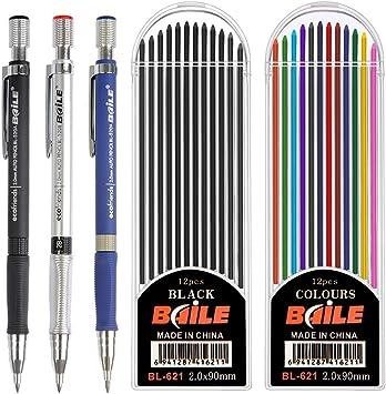 Set 21 Mechanical Pencil 2.0 mm 9 Pc Automatic Pencils 12 Cases Lead Refills
