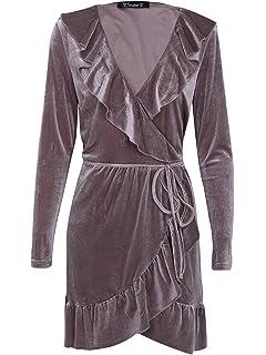 5f978d5628 Simplee Apparel Women s Sexy Deep V Neck Ruffles Velvet Dress Party Wrap  Dress
