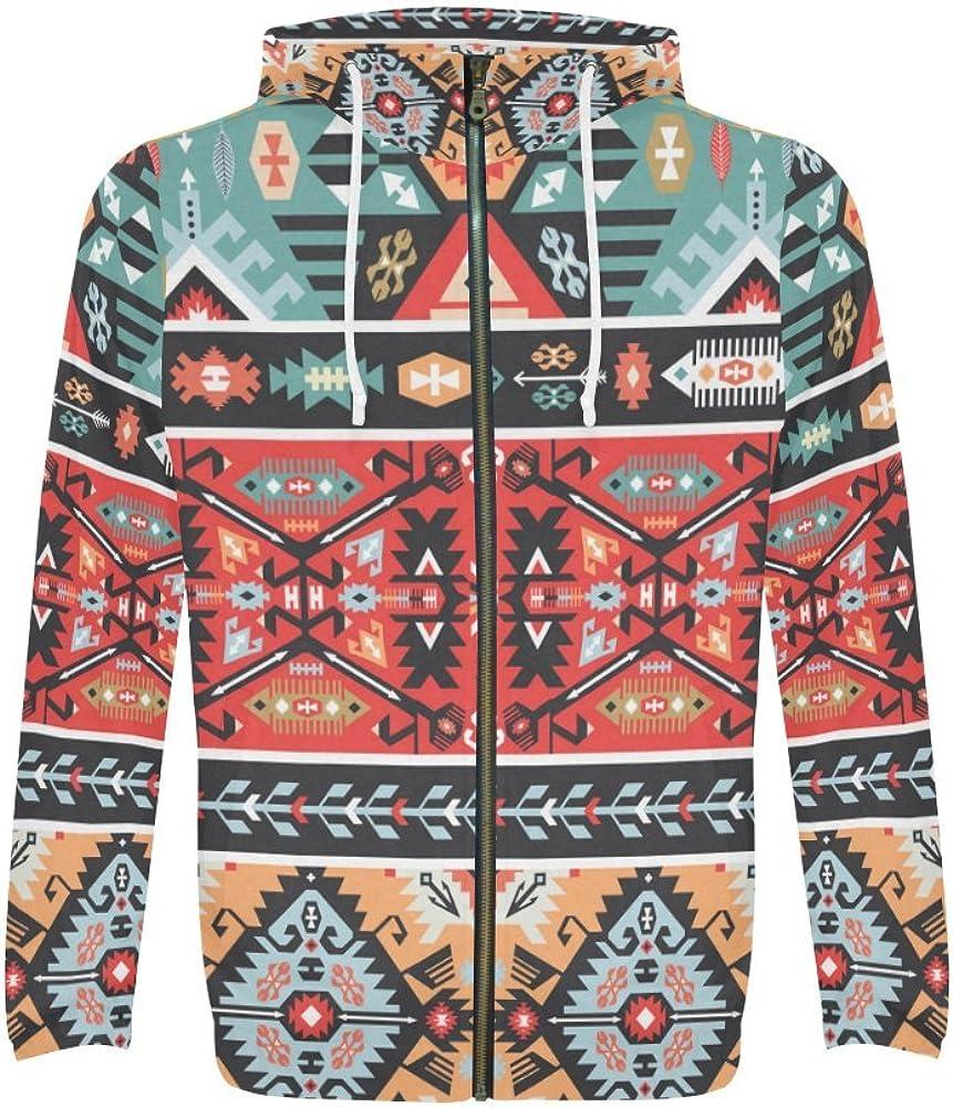 InterestPrint Custom Colorful Aztec Tribal Design Men's Full Zip Zipper Hoodies Sweatshirt