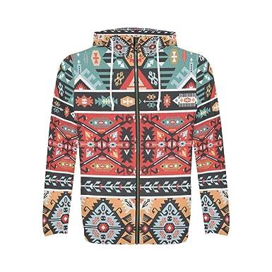 689131ae8 InterestPrint Custom Colorful Aztec Tribal Design Men s Full-Zip ...