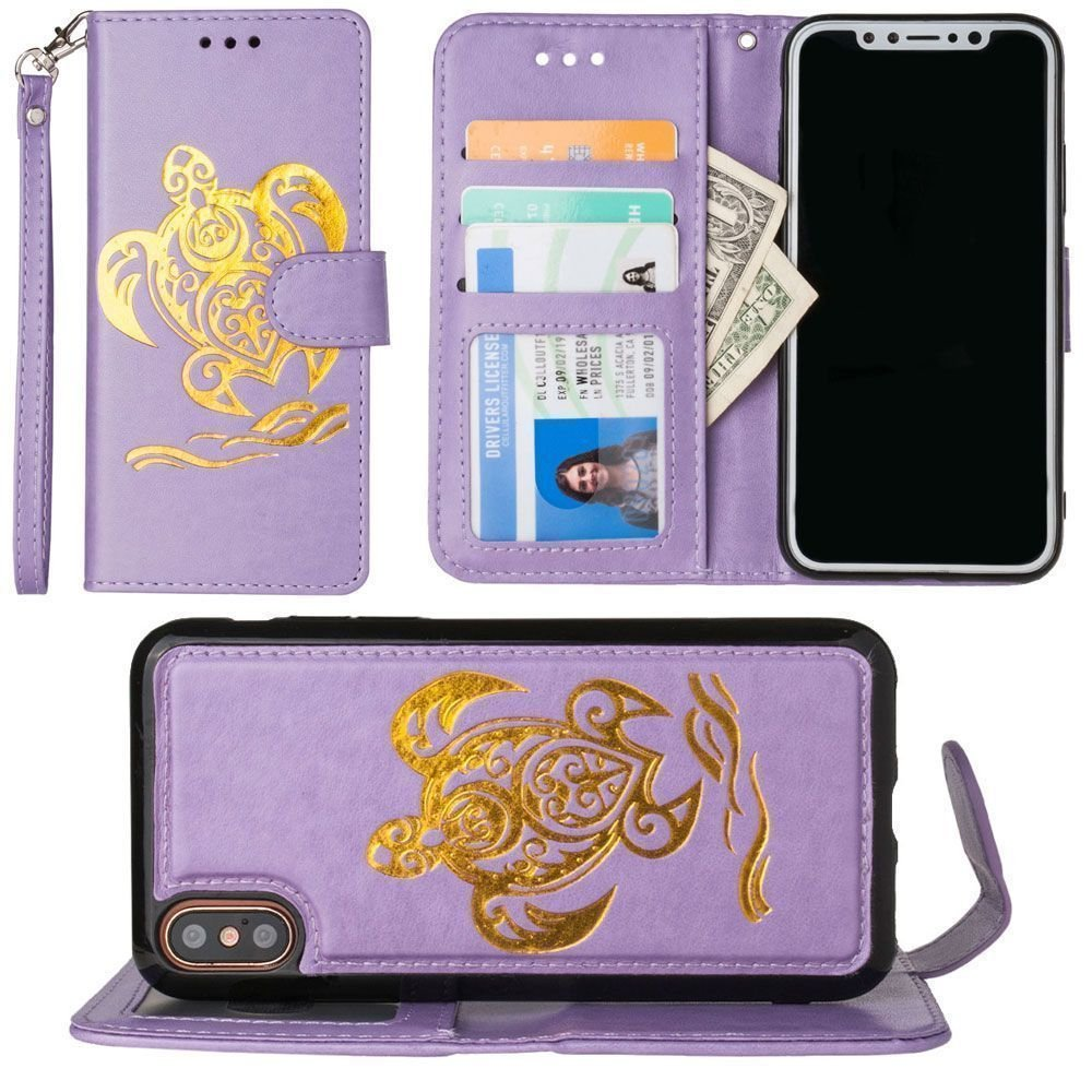 iPhone X Wallet Case, Slim PU Leather Embossed Design with Matching Detachable Flip Cover with Credit Card Holder Wristlet for Women [Sea Turtle - Lavender/Gold]