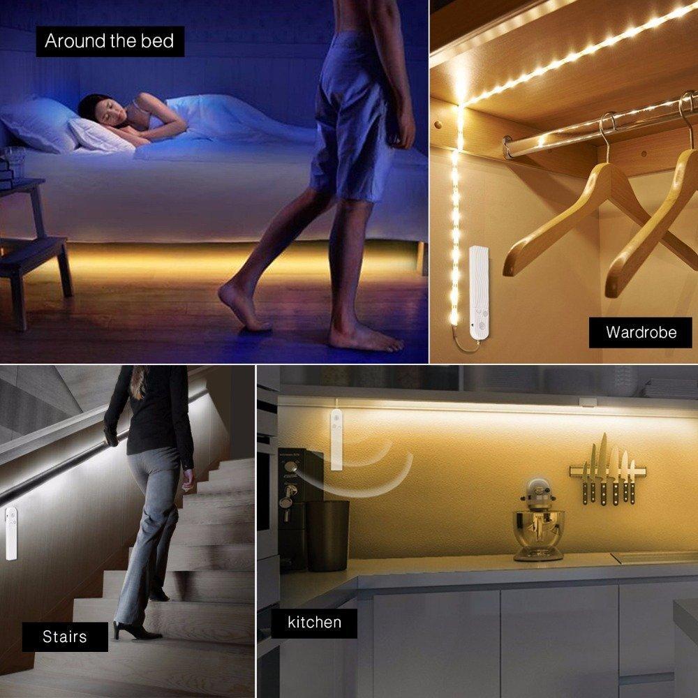 OriFiil 1.5M LED Bande D/étecteur de Mouvement /Éclairage LED Ruban Automatique pour Armoire Aliment/é par Batterie avec Bandes Adh/ésives,Lumi/ère Chaude pour Garde-robe//Couloir//Escalier//Garage