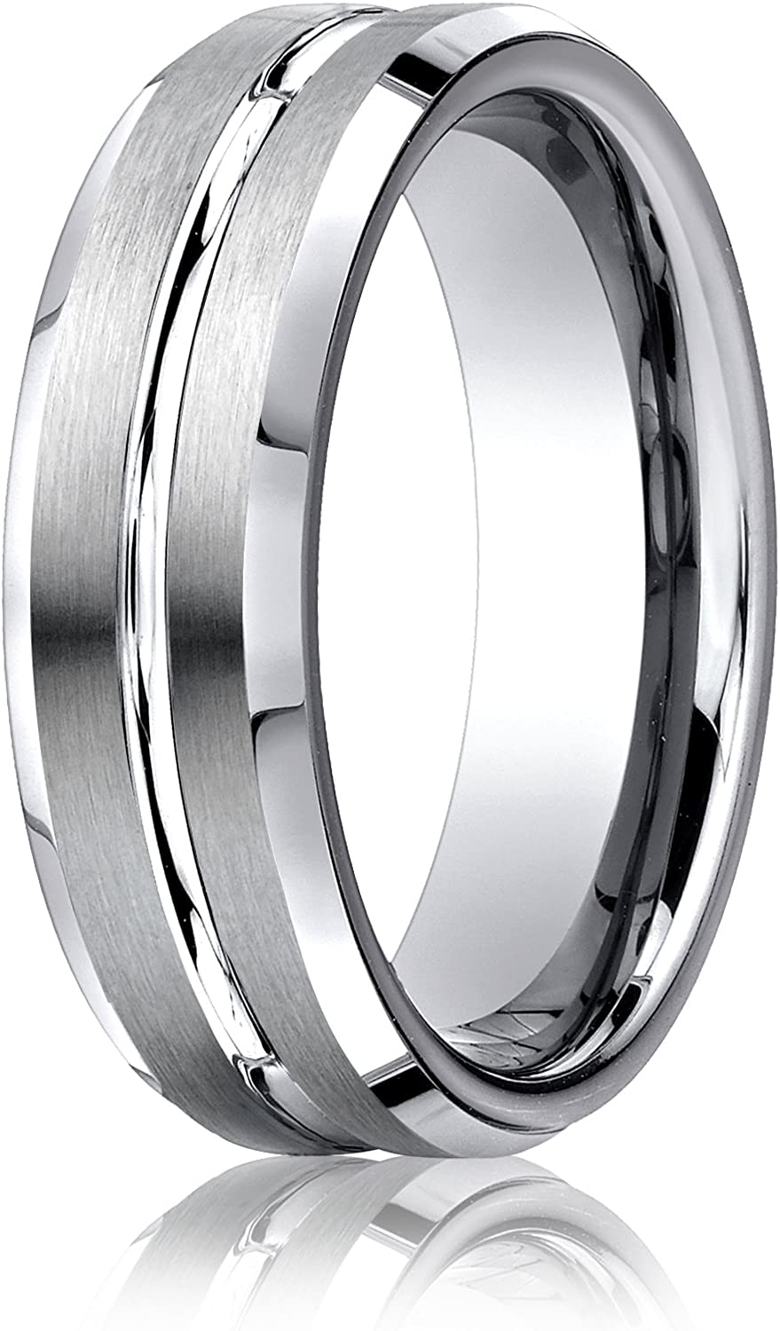 Wedding Bands Classic Bands Domed Bands w//Edge Titanium Ridged Edge 6mm Satin and Polished Band Size 9.5