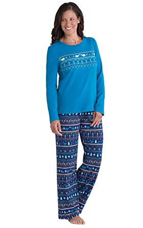 PajamaGram Peace on Earth Fair Isle Cotton Women's Pajamas, Navy ...