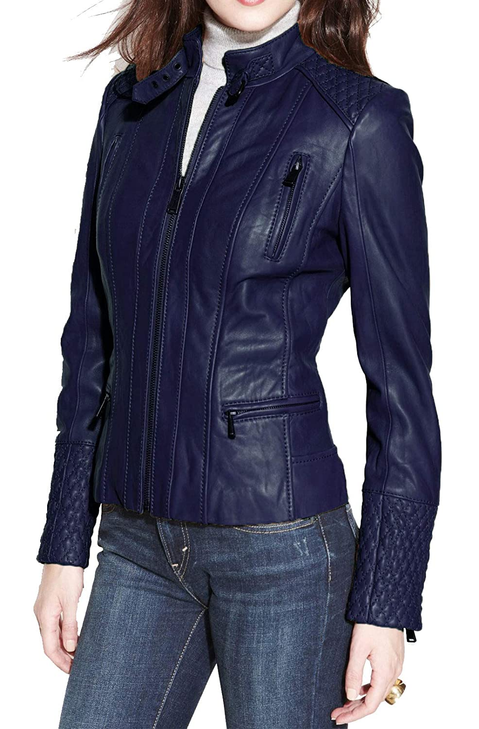 bluee Alishbah Women's Leather Jacket Stylish Motorcycle Biker Genuine Lambskin WJ 295