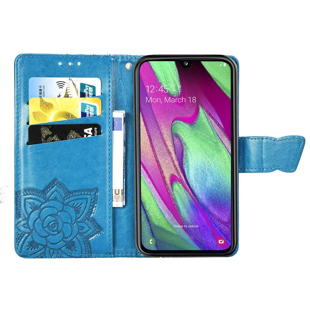 Kickstand Magnetic Closure Samsung Galaxy A40 Phone Case Flip Notebook Protective Cover Case for Samsung Galaxy A40 Card Slots Shockproof Premium PU Leather Wallet Case with
