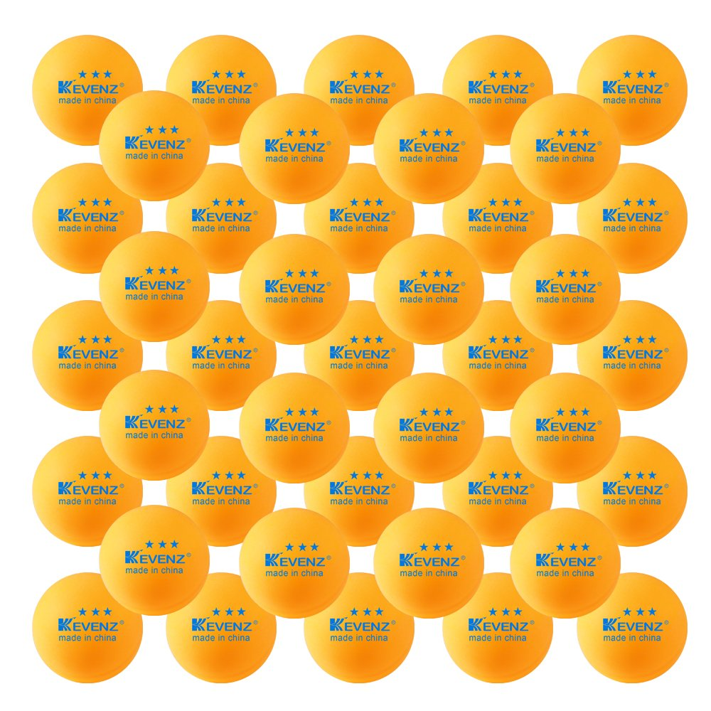 50-Pack KEVENZ 3-Star 40mm Orang Table Tennis Balls,Advanced Training Ping Pong Balls