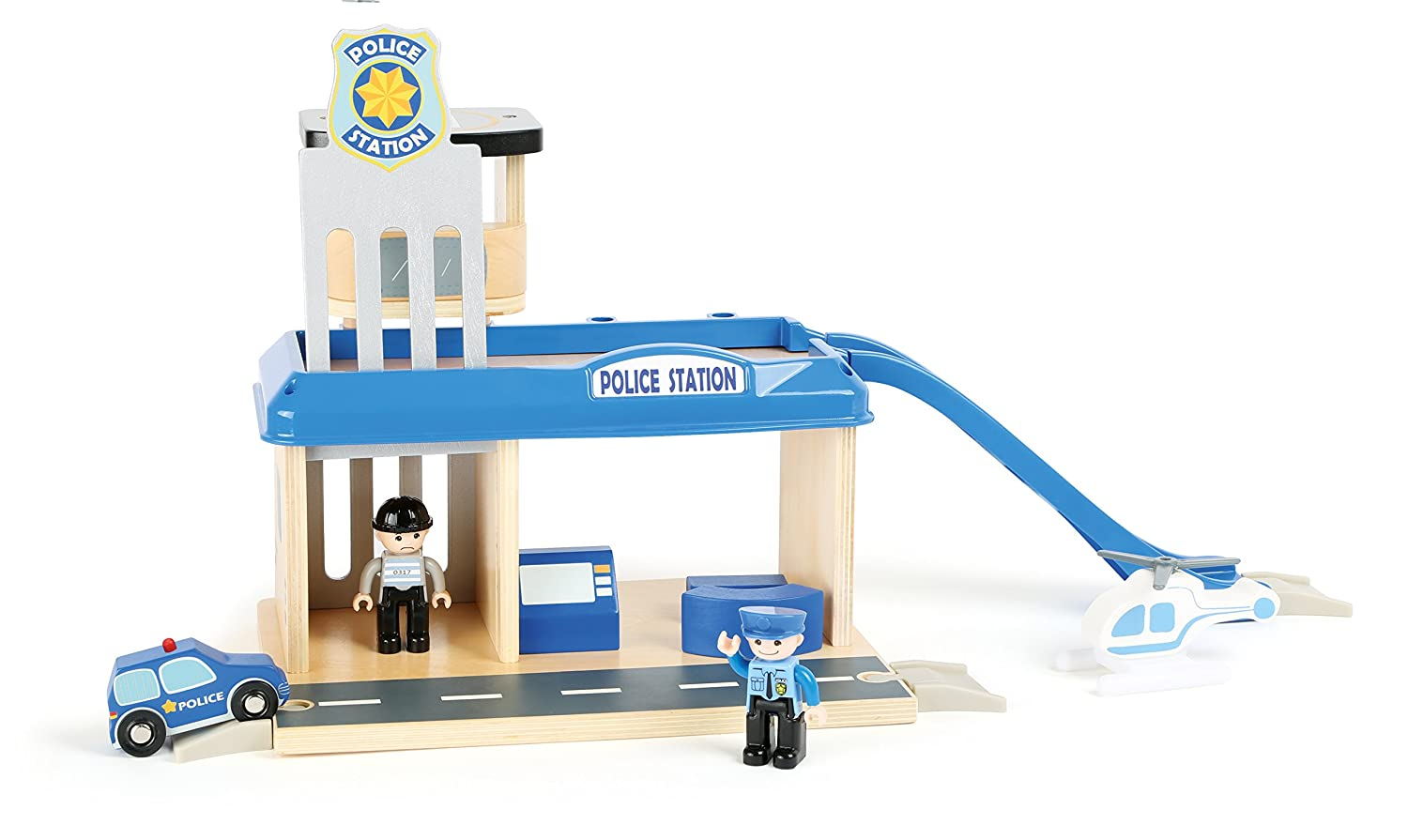 small foot company Wood Police Station with Accessories