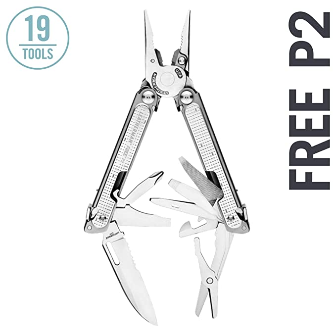 LEATHERMAN - FREE P2 Multitool with Magnetic Locking, One Hand Accessible Tools and Premium Nylon Sheath