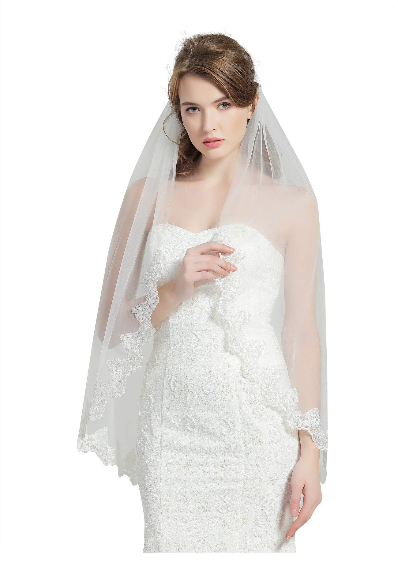 Wedding Bridal Veil with Comb 1 Tier Lace Applique Edge Fingertip Length 41'' V82 Ivory
