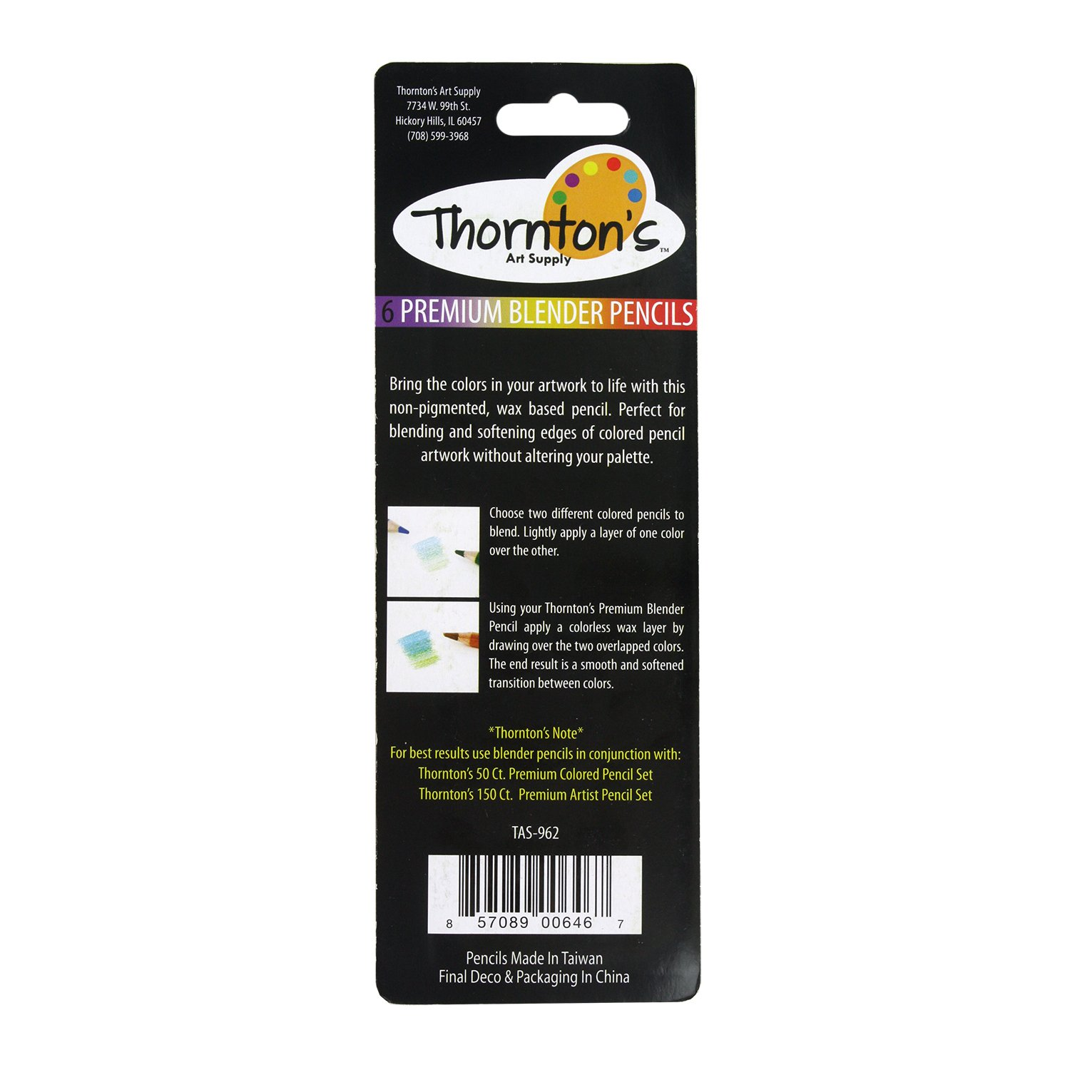Thorntons Art Supply Premium Colorless Blender Pencils 12 Count