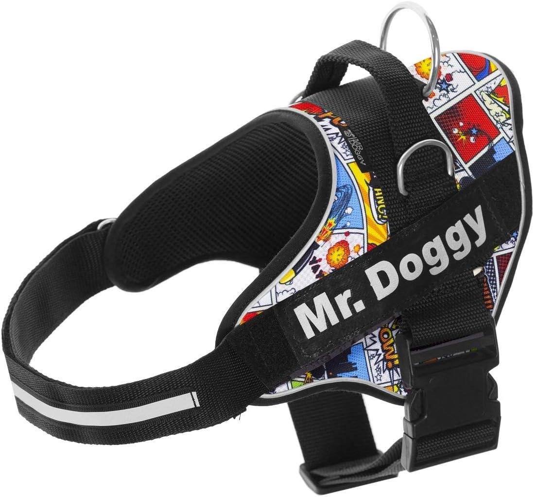 Arnés Personalizado para Perros - Estampado - Arnés para Perros Reflectante - Incluye 2 Etiquetas con Nombre - Todos los Tamaños - De Calidad y Resistente (XS 3-7,5KG, CÓMIC)