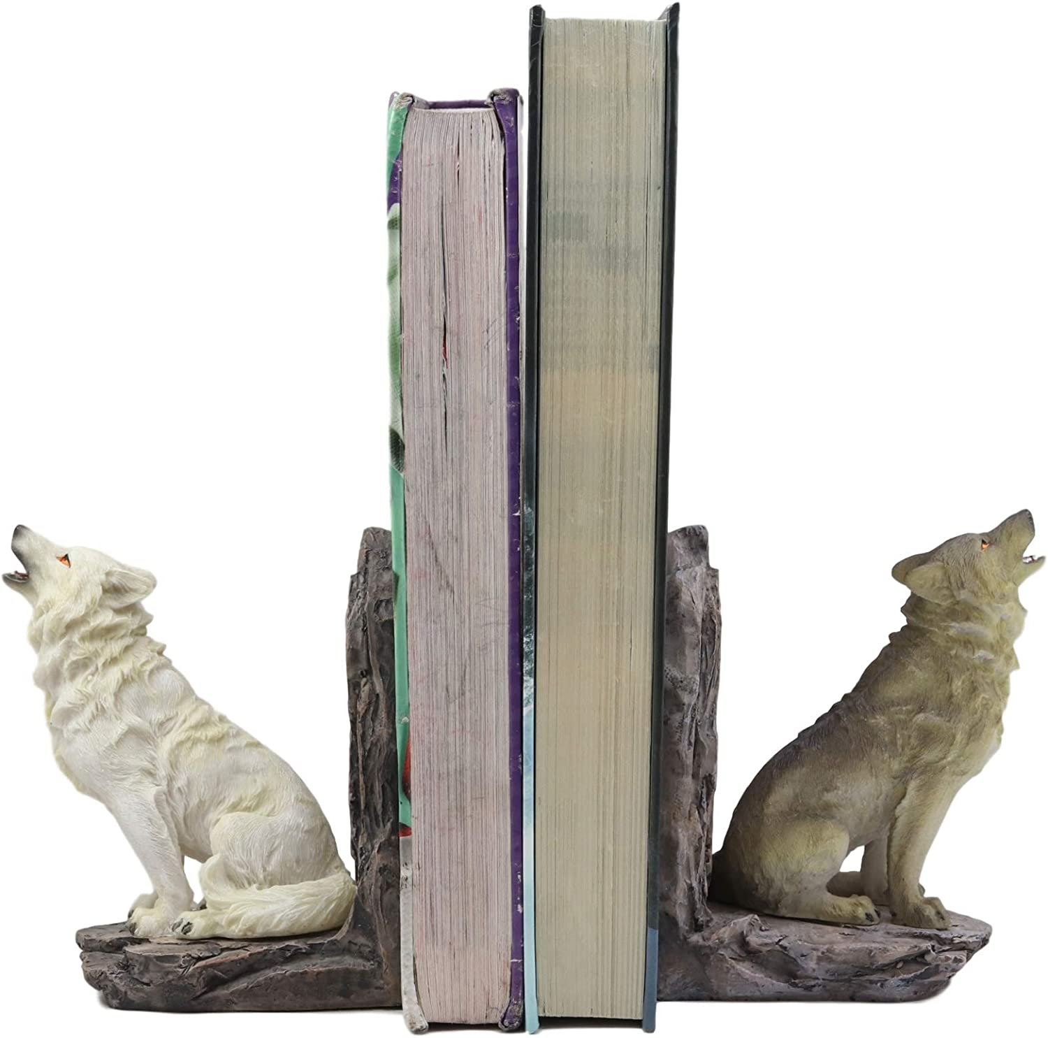 """Ebros Animal Totem Spirit Howling Gray And Snow Wolves Decorative Small Bookends Figurine Set 5.5""""Tall As Timberwolf or Wolf Decor For Library Book Shelves Fantasy Sculptures Wardens Of The North Wall"""