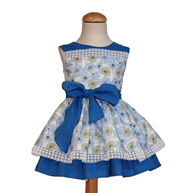 Ricittos - Vestido de niña en Tonos Azules de Estampado Floral (4 años)