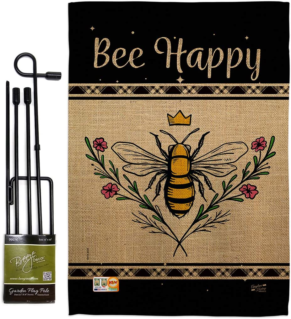 Bugs & Frogs Queen Bee Happy Garden Flag Set with Stand Friends Butterfly Ladybugs Dragonfly Springtime Insect Natural Wildlife Small Gift Yard House Banner Double-Sided Made In USA 13 X 18.5