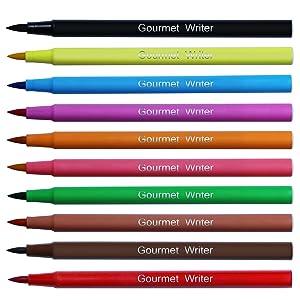 Sotek Food Coloring Marker Pens, Food Grade Edible makers, Food Coloring Pens for Cakes, Decorating Cookies Fondant, Desserts, Kids Cookies, Easter Eggs Writing, 10 colors