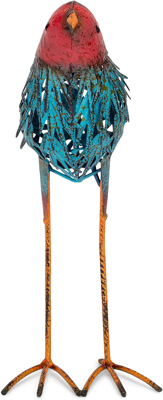 Song Bird Crimson, Teal, and Copper Tone 15.75 Inches Metal Outdoor Garden Statue
