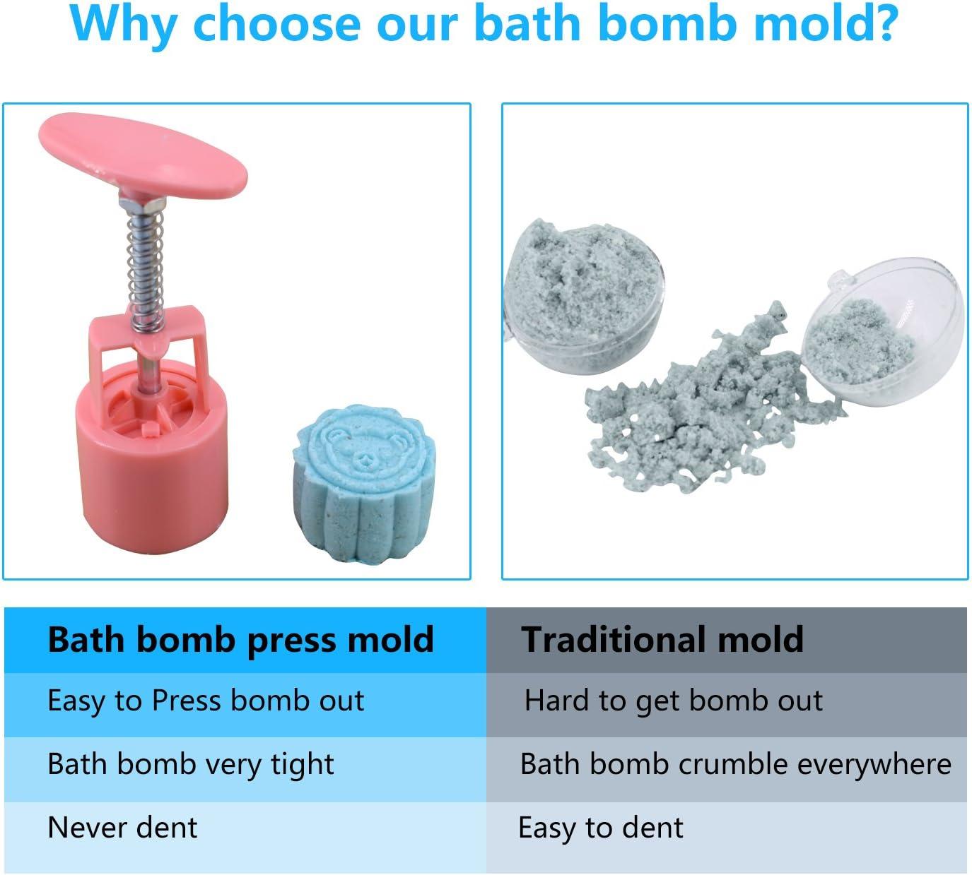 Pink Bath Bomb Mold Kit /& Bath Bombs Press for DIY Making Supplies Tool 1 Barrel 6 Stamps