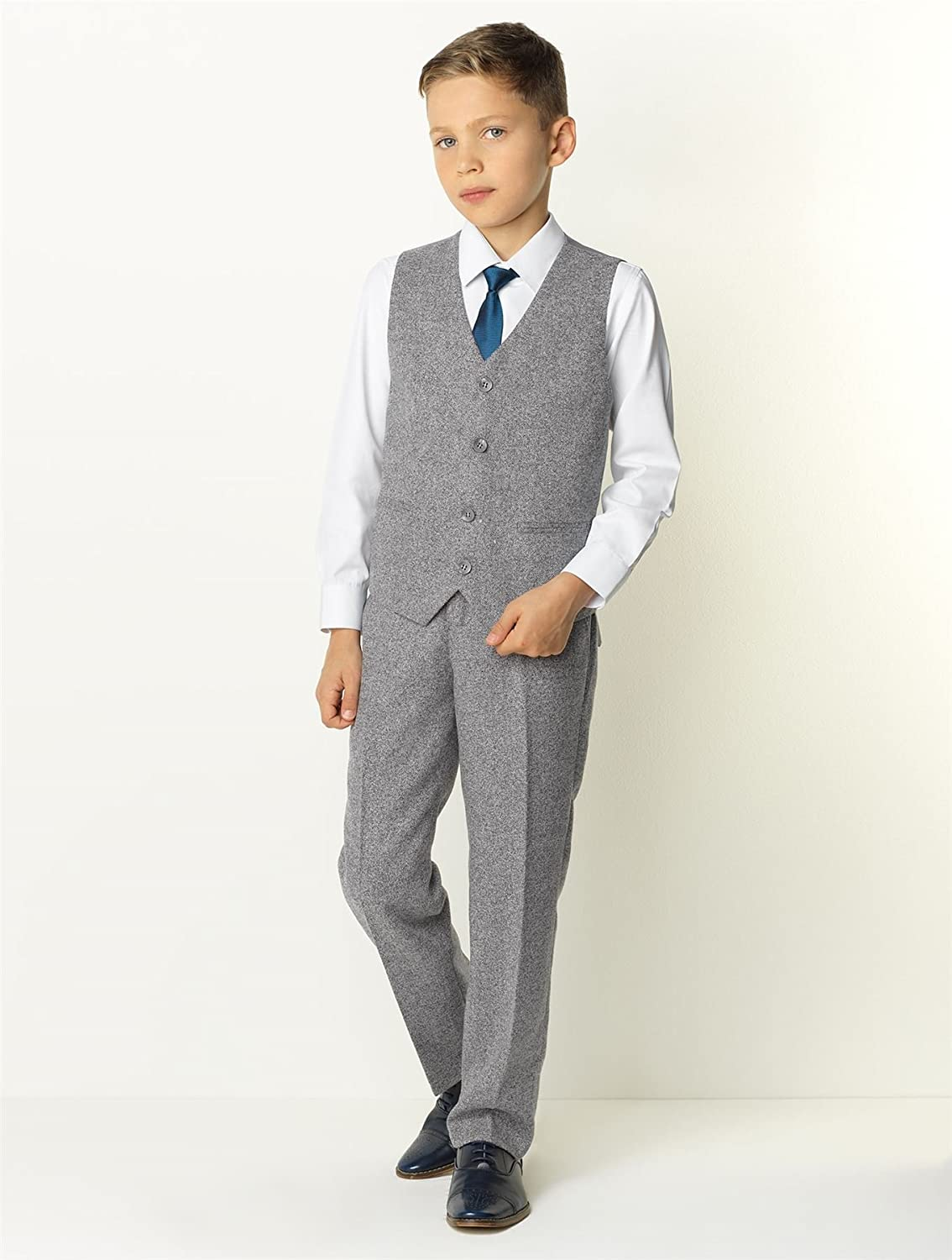 1930s Childrens Fashion: Girls, Boys, Toddler, Baby Costumes Paisley of London Boys Gray Suit Ring Bearer Suit $84.99 AT vintagedancer.com