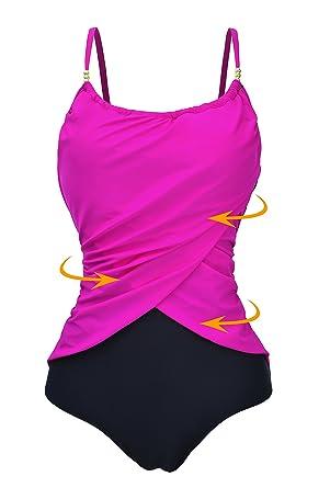 dbfaa74acf Zando Vintage Bathing Suit Womens Plus Size Tummy Control One Piece Swimwear  Frilly Stylish Swimsuit Rose