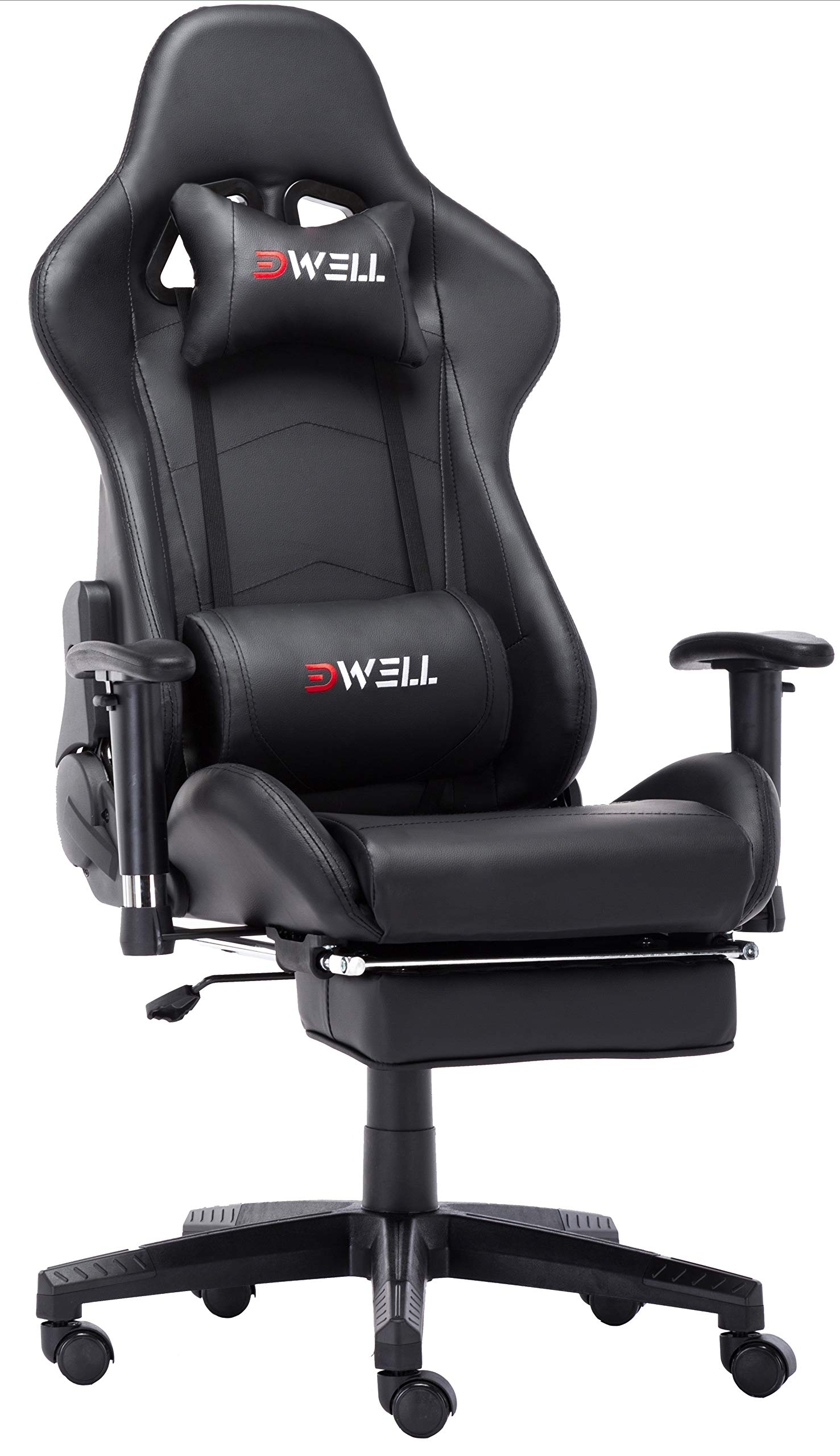 Computer Gaming Chair Office Desk Chair,Large Size Racing Chair High-Back Ergonomic PU Leather Adjustable Esports Desk Chair with Headrest Massage Lumbar Support Retractable Footrest (Black) by Ansuit