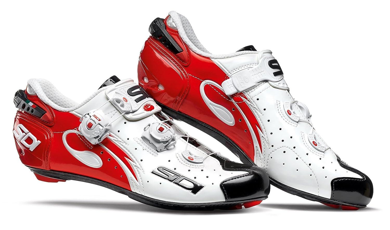 Sidi Wire Carbon Road Shoes (EU 45, White/Black/Red) B07CXMK9NM EU 45|White/Black/Red