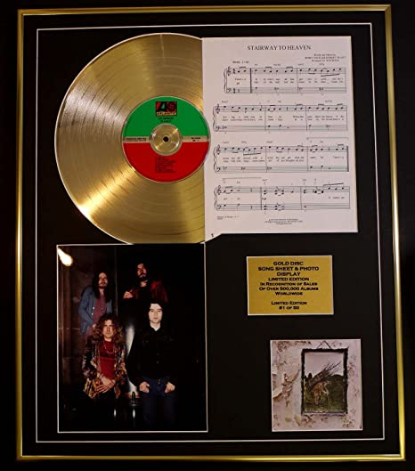 Led Zeppelin Cd Gold Disc Song Sheet Photo Display Ltd Edition