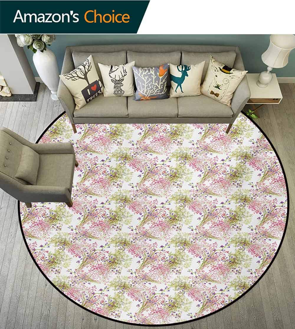 RUGSMAT Romantic Small Round Rug Carpet,Flower Pattern with Fresh Foliage Leaves and Petals Watercolor Style Illustration Door Mat Indoors Bathroom Mats Non Slip,Diameter-47 Inch Multicolor
