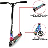 Long Way Longway Aluminium Pro Stunt Kick Scooter with BMX Handlebars, 110mm wheels & Abec-7 - Anodized Neo Chrome/Carbon Fiber Print/Matte Blue/Matte Red