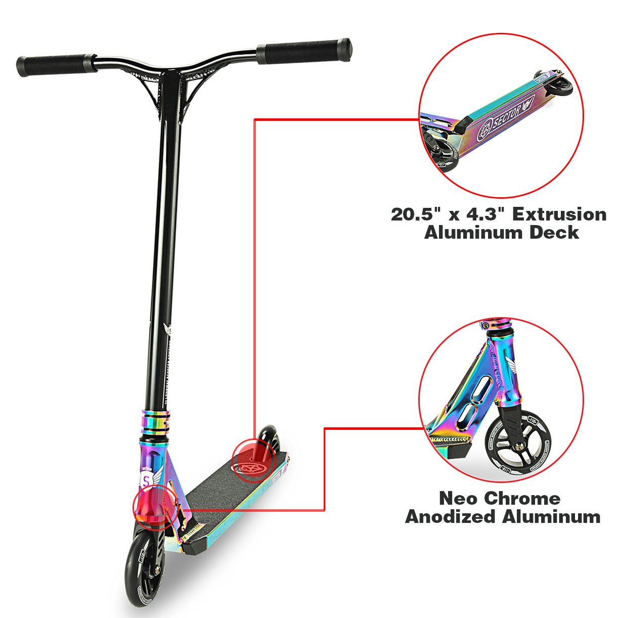 Long Way Longway Sector Neo Chrome Pro Stunt Kick Scooter, with BMX Handlebars Reinforced Aluminium Wheels and Fork